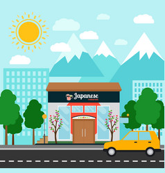 Japanese restaurant building and landscape vector