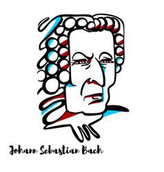 Johann sebastian bach portrait vector