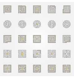 Labyrinth icons set vector image
