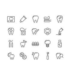 Line dentist icons vector