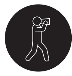 man with speaker black concept icon man vector image