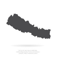 Map nepal isolated black on vector
