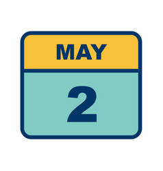 May 2nd date on a single day calendar vector