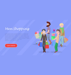 Men shopping conceptual flat web banner vector