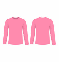 Mens pink long sleeve t shirt vector