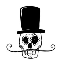Mexican sugar skull in sombrero isolated on white vector