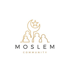 moslem community people family logo icon vector image