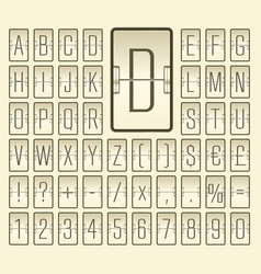 Narrow destination flip board font for timetable vector