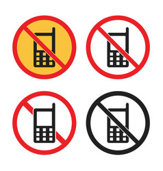 No phone sign no cell phone icon set vector