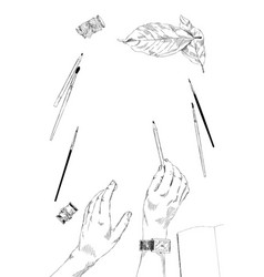 One hand holding a pencil vector