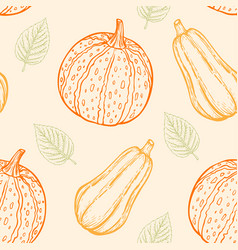 pattern with pumpkins and green leaves vector image