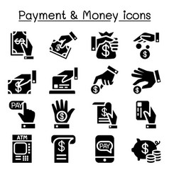 Payment money icon set vector
