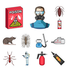 Pest poison personnel and equipment cartoon vector