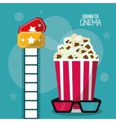 pop corn glasses movie film cinema icon vector image