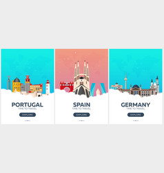 portugal spain germany time to travel set of vector image
