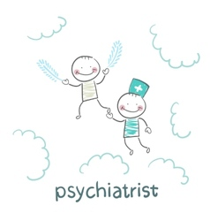 Psychiatrist with patient flies in the sky vector