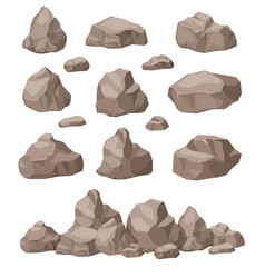 Rock stones cartoon stone isometric set granite vector