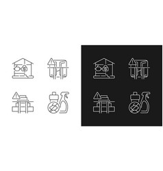 Safety precaution at home linear icons set for vector