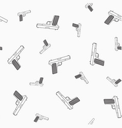 seamless pattern of pistols on a white background vector image