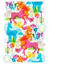 Seamless pattern with unicorns and fantasy items vector