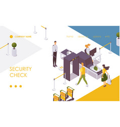 security check at airport checkpoint landing page vector image