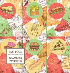 Set of 6 fast food seamless patterns Geometric vector image