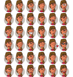 Set of brunette businesswoman emojis vector
