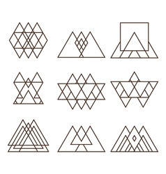 Set of geometric shapes triangles squares and vector