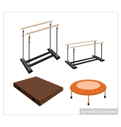 Set of Gymnastics Equipment on White Background vector image