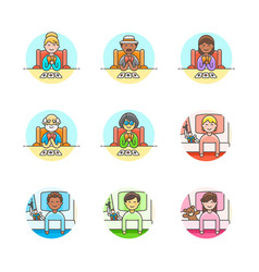 set of multicolor lifestyle icons vector image