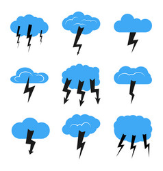 set of nine clouds with a thunderstorm vector image