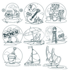 Set outline drawings on theme summer vector