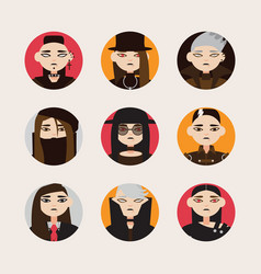 Set with avatars of gothic man in hats vector