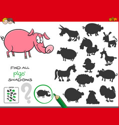 shadows game with pigs characters vector image