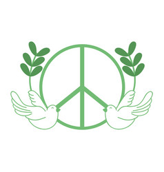 Silhouette hippie emblem with doves and branches vector