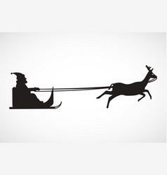 silhouette of sleigh with santa claus and reindeer vector image