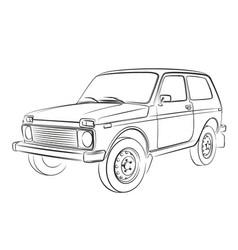 Sketch off road car vector
