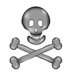Skull and bones danger sign sign icon vector