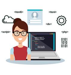 Software language programmer avatar vector