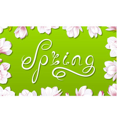 Spring border frame with beautiful magnolia vector