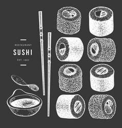 sushi hand drawn on chalk board japanese cuisine vector image