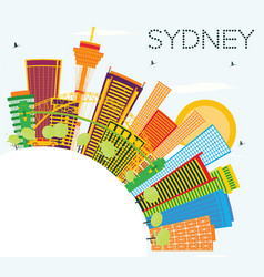 Sydney skyline with color buildings blue sky and vector