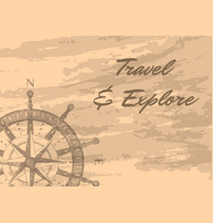 Travel and explore banner with compass windrose vector