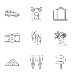 Travel to sea icons set outline style vector