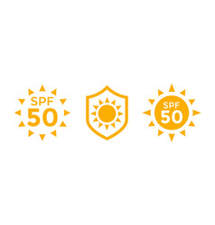 Uv sun protection spf 50 icons on white vector