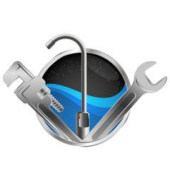 water faucet and wrench plumber vector image
