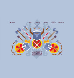 web banner flat knight tournament chivalric sword vector image