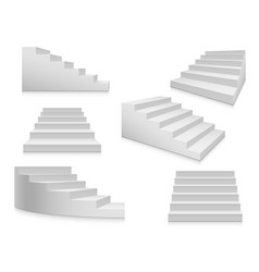white stairs staircase 3d stairway interior vector image