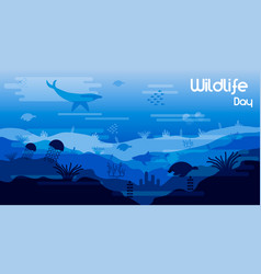 wildlife day card sea animals in coral reef vector image