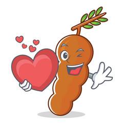 With heart tamarind mascot cartoon style vector